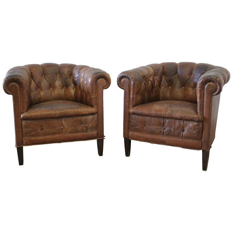 Pair Of French Leather Tub Chairs For Sale