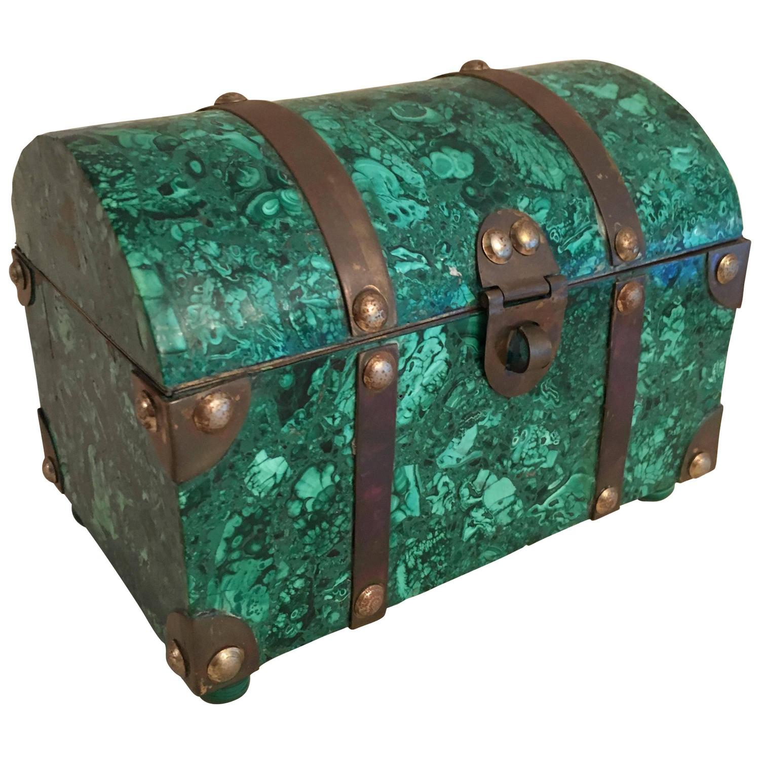 Italian Malachite And Brass Treasure Chest Box For Sale At 1stdibs