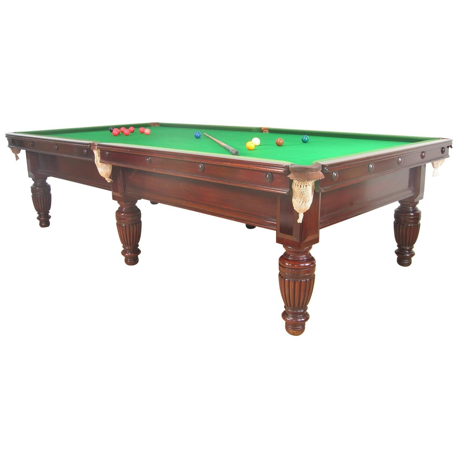 Victorian three quarter size english billiard or pool for 1 4 size snooker table
