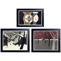 Collection of Three Japanese Woodblock Prints by Kiyoshi Saito
