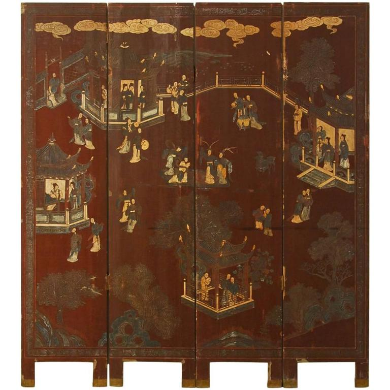 19th Century Four Panel Lacquered Coromandel Screen