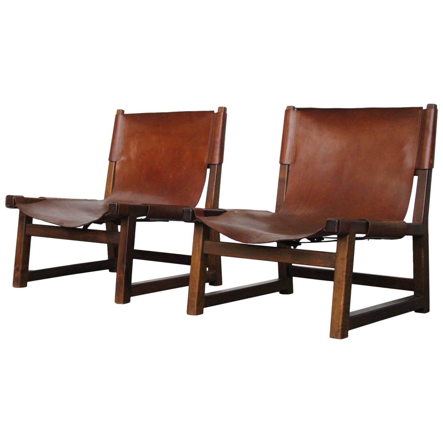 Pair of Beautiful Tanned Leather Swedish Oak Hunting Chairs at 1stdibs