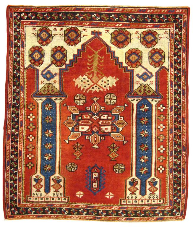 Antique Turkish Bergamo Oriental Rug, Small Square Size, with Pillars and Arch
