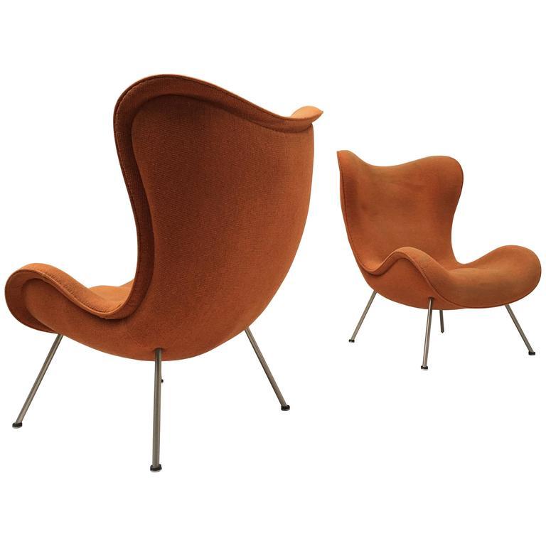 "Rare ""Madame"" Slipper Chairs + Ottoman by Fritz Neth Correcta, Germany, 1950"