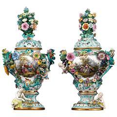 Pair of Meissen Mayflower Vases