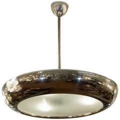 Josef Hurka Frosted Glass Pendant with Chrome Surround