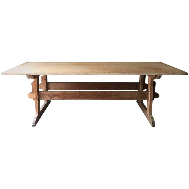 19th Century Swedish Long Trestle Table For Sale