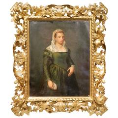 Oil on Canvas English Portrait of a Lady in a Gold Gilt Frame, 19th Century
