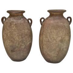 Exceptional Pair of Karl Springer Murano Scavo Corroso Vases