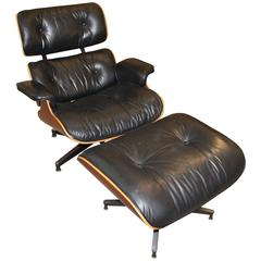 Classic Eames Black Leather 670 Chair and 671 Ottoman with Labels