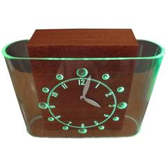 Art Deco Curvaline Neon Desk Clock by Lackner