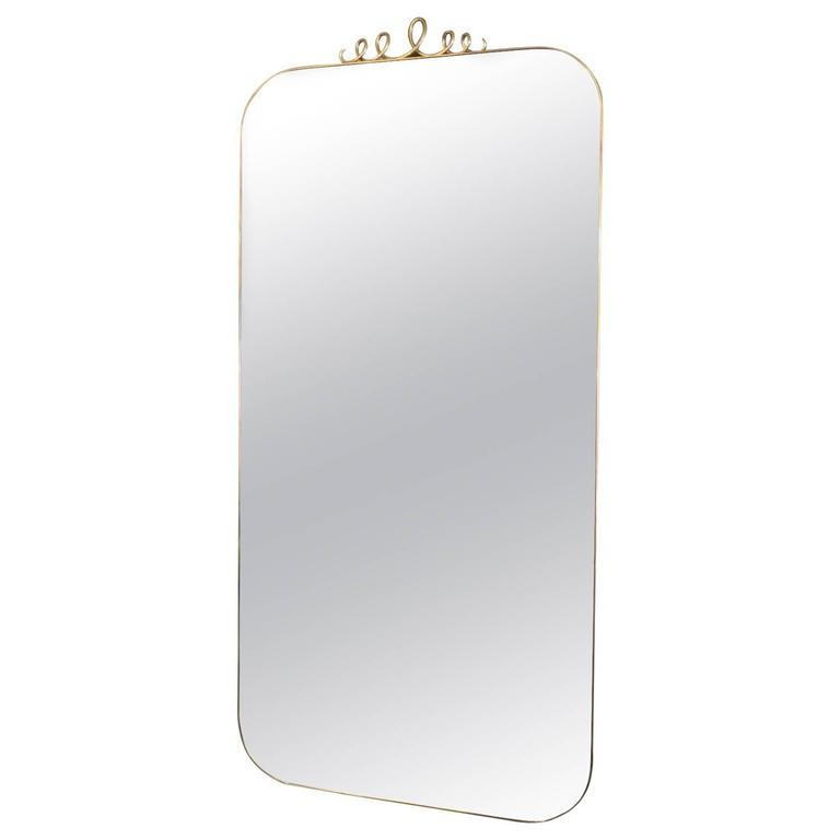 Tall Rectangular Brass Mirror with Loop Detail For Sale