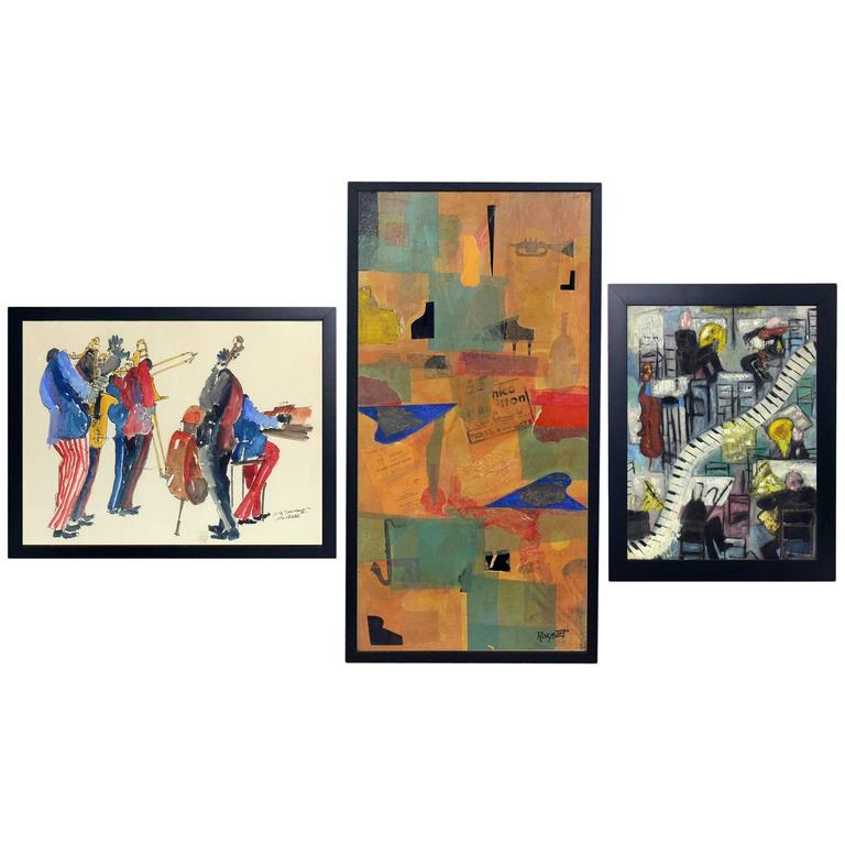 Group of Mid-Century Jazz Themed Paintings