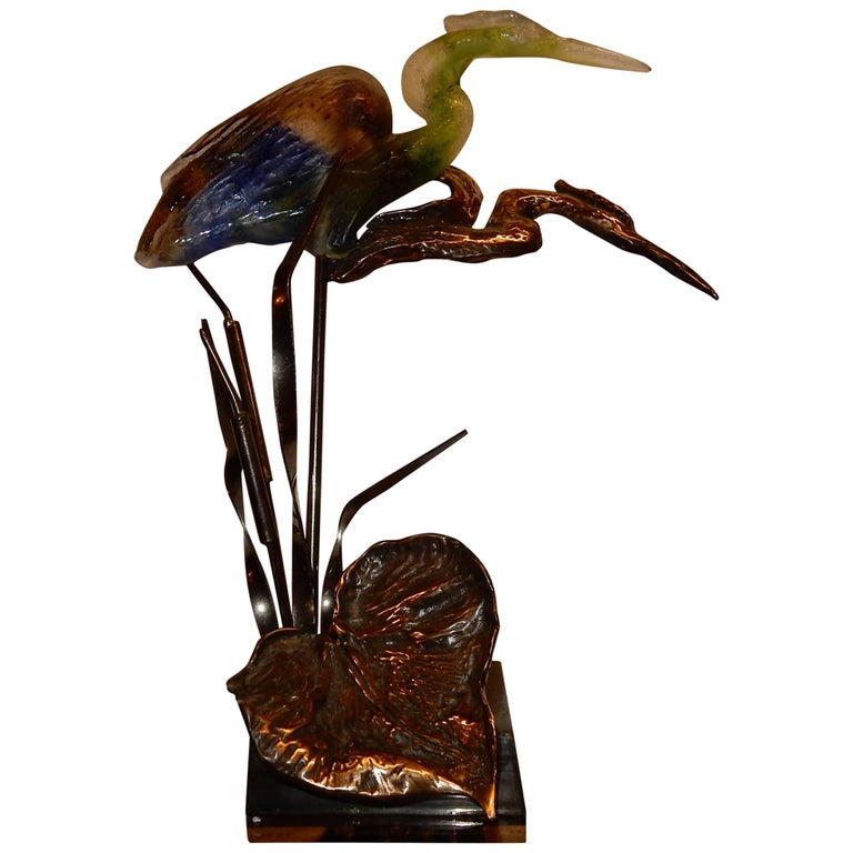 Bronze Heron and Molten Glass, Signed Lohe, 1970-1980