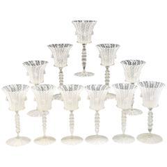 Set of 19th Century Venetian Salviati White Latticino Goblets Vetro a Retorti