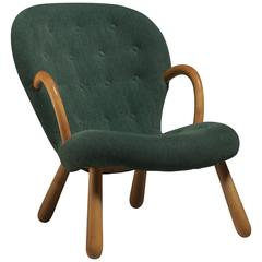 Philip Arctander Clam Chair with Green Upholstery, Denmark, 1940s