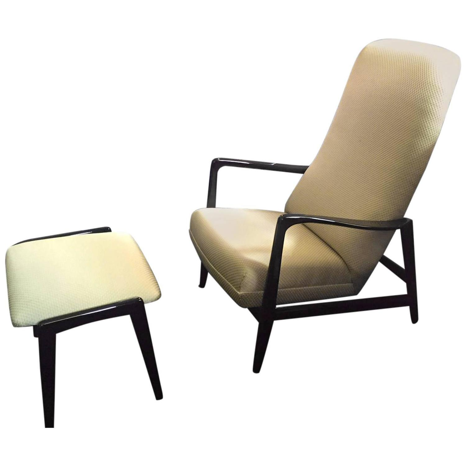 Mid Century High Back Lounge Chair with Ottoman by Gio Ponti For