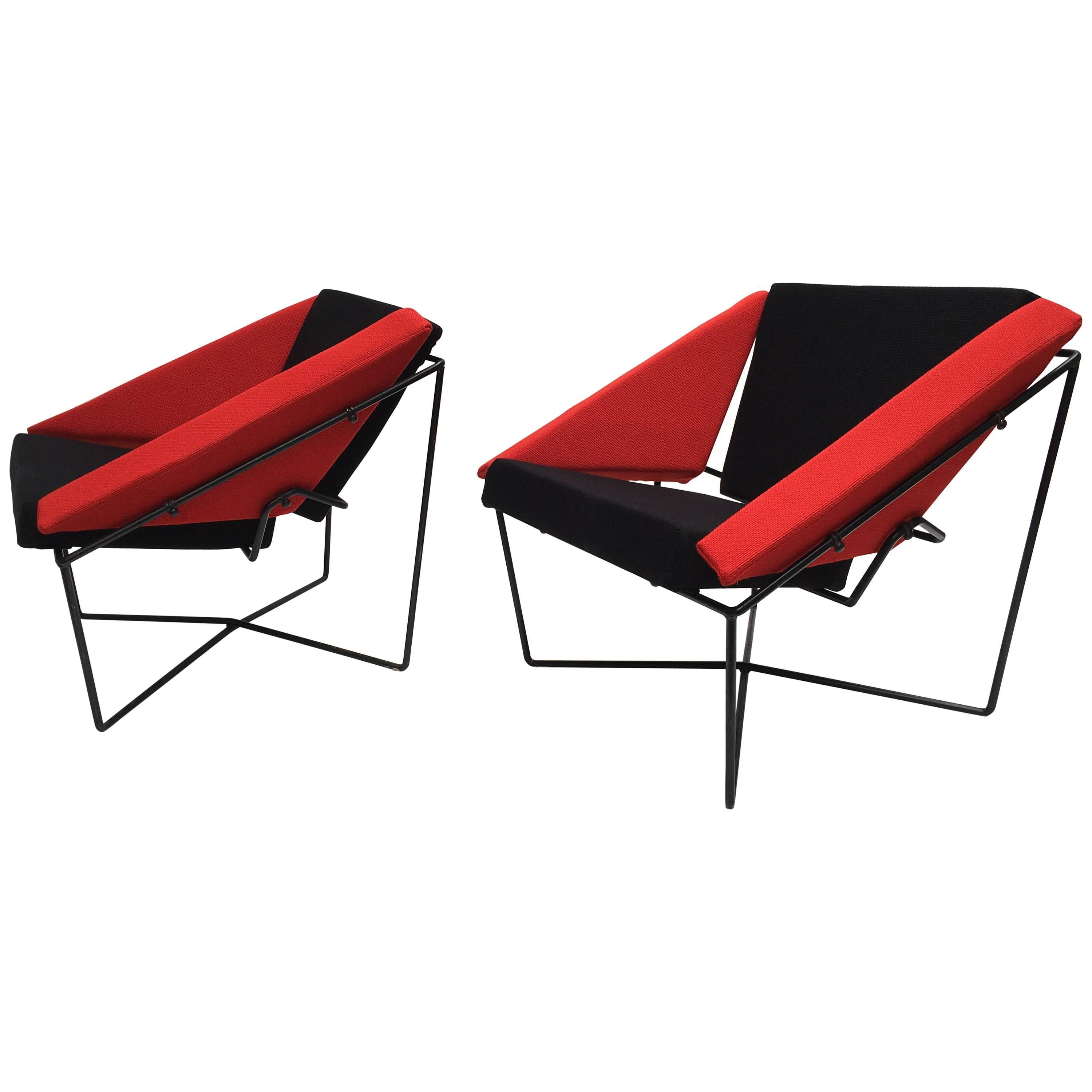 """Rare Pair of """"Van Speyk"""" Easy Chairs by Rob Eckhardt, the Netherlands, 1984"""