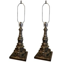 Pair of Iron Silver Leaf Architectural Elements Adapted as Lamps, 19th Century