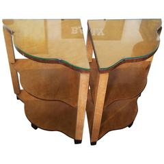 Pair of English Art Deco European Birch Bedside or Sofa Tables