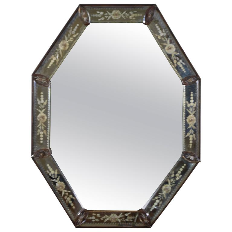 Venetian Inspired Reverse Etched Glass Octagonal Mirror, 19th Century