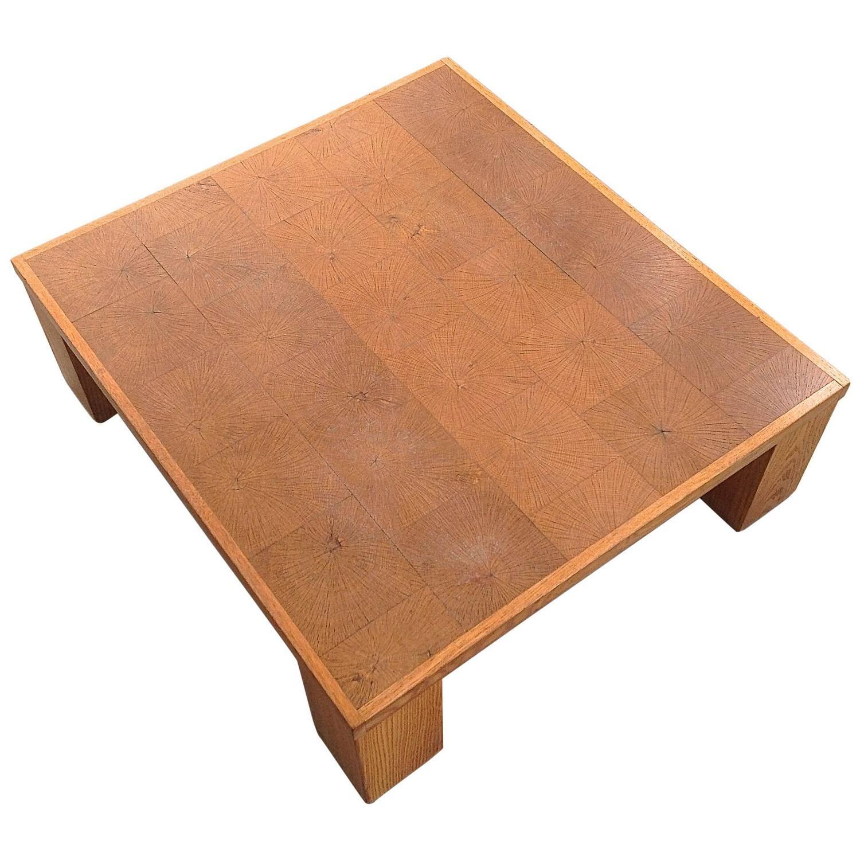 Elegant coffee table in solid oak block wood by emiel for Solid block wood coffee table