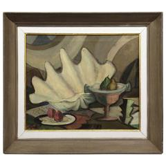 1940s Still Life Composition Painting with Fruit and Giant Clam