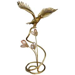 Brass and Agate Flying Eagle Illuminated Sculpture by Fernandez