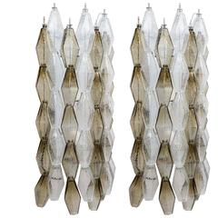 Pair of Sconces with Transparent and Grey Murano Glass