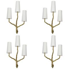 Set of Four Gilded Bronze Brutalist Wall Sconces by Maison Arlus