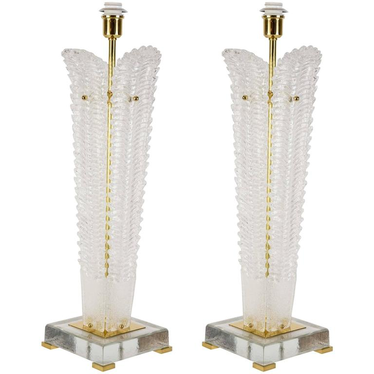 Pair of Table Lamps in Murano Glass.