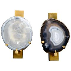 Pair of Brass and Agate Slice Wall Sconces