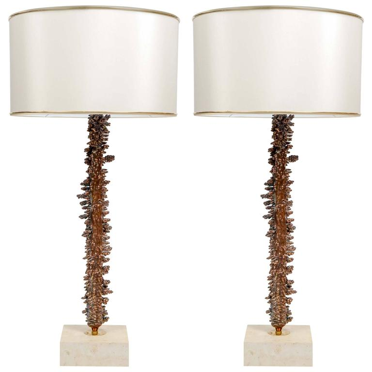 Interesting Copper Plated And Travertine Pair Of Table Lamps For