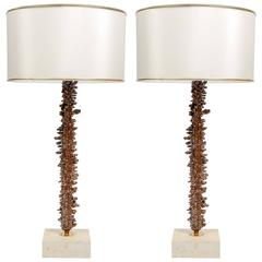 Interesting Copper-Plated and Travertine Pair of Table Lamps
