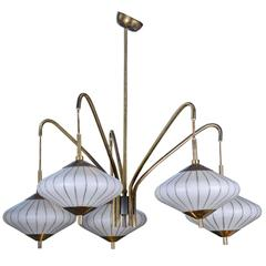 Charming Small Asian Inspired Metal and Glass Chandelier