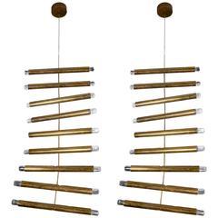 Rare Pair of Giampiero Aloï for Lumi Brass Ladder Chandeliers