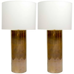 Elegant Pair of Brass Cylinder Lamps