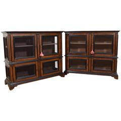 Italian Baroque Style Grain Painted and Ebonized Four-Door Cabinets, Pair
