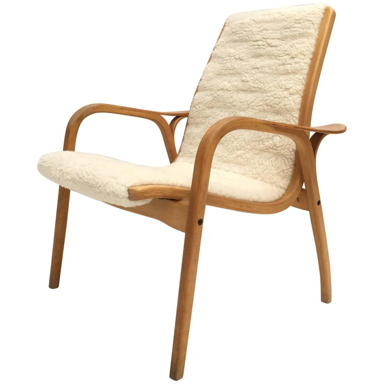 "Yngve Ekström Laminated Birch and Wool Upholstered""Lamino"" Chair Swedese, 1956 For Sale at 1stdibs"