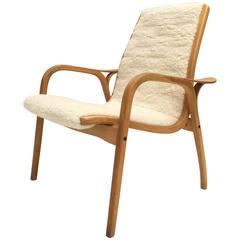 "Yngve Ekström Laminated Birch and Wool Upholstered ""Lamino"" Chair Swedese, 1956"