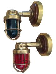 Pair of Wiska Brass Ship's Port and Starboard Navigational Lights, Mid-Century