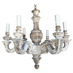 Six-Light French Louis XV Style Painted Chandelier