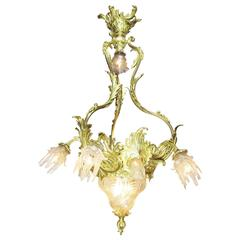 Very Fine French Belle Époque Gilt Bronze and Molded Cut-Glass Chandelier