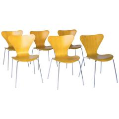 1955, Arne Jacobsen, Set of Six Rare Vintage Laminated 3107 Butterfly Chair