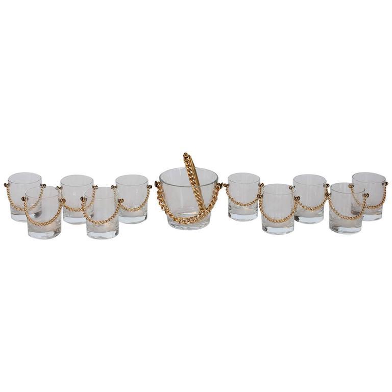 Stylish Modern Glassware Set with Brass Chain