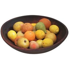 19th Century Wood Butter Bowl with Collection, 24 Pieces Stone Fruit