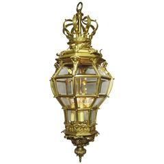 Fine and Large French Louis XIV Style 19th Century Gilt Bronze Figural Lantern