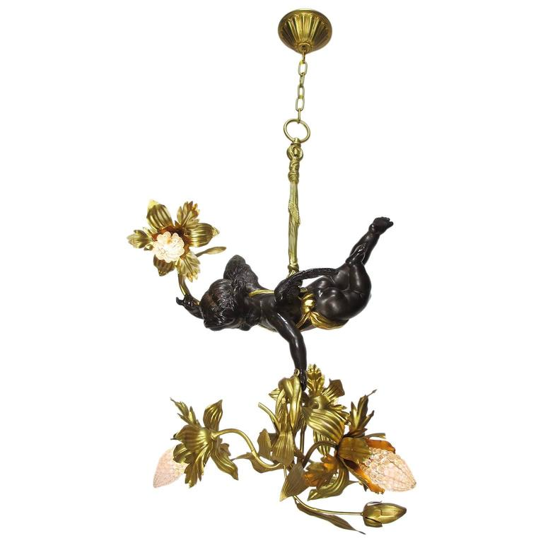 Fine French Belle Epoque Patinated and Gilt Bronze Hovering Cherub Chandelier