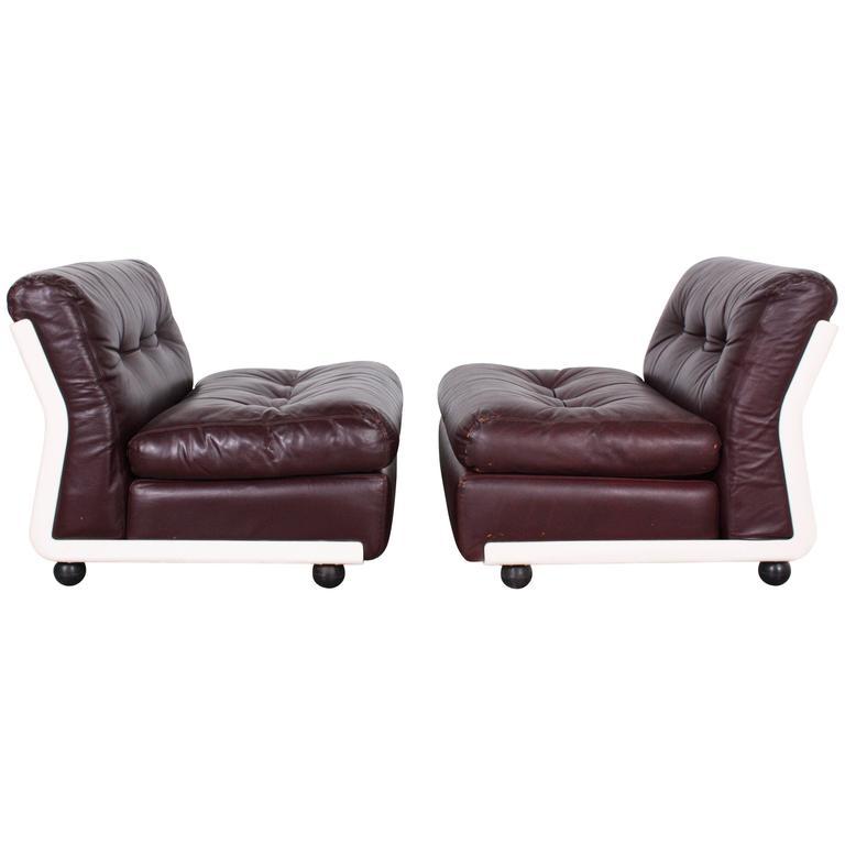 Original Leather Mario Bellini Lounge Chairs by C&B Italia