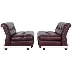 Original Leather Mario Bellini Lounge Chairs by C&B Italia
